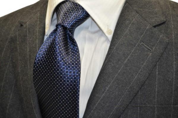 ネクタイ【ネイビー地に水色とベージユの小紋柄ネクタイ】