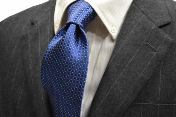 ネクタイ【ブルー地にホワイトの小紋柄ネクタイ】
