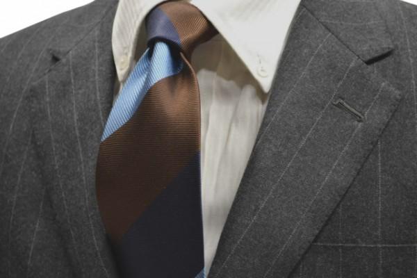 定番・市松模様 ネクタイ【水色、ネイビー、ブラウンのストライプネクタイ】