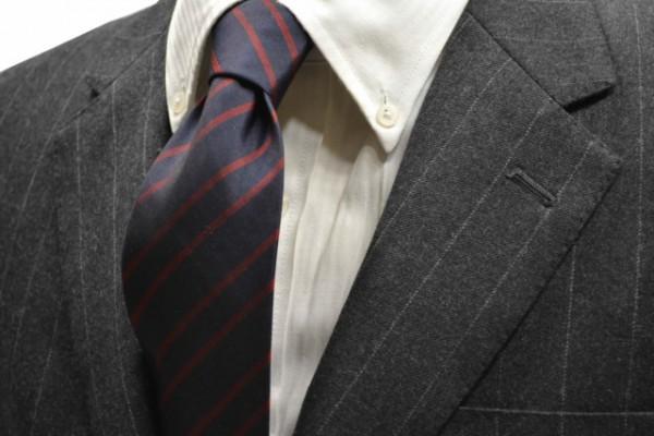 定番・市松模様 ネクタイ【ネイビー(紺)地に、レッドのストライプネクタイ 】