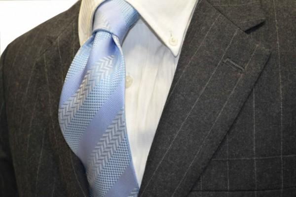 定番・市松模様 ネクタイ【水色の白だて【段落ち無地】ストライプネクタイ】