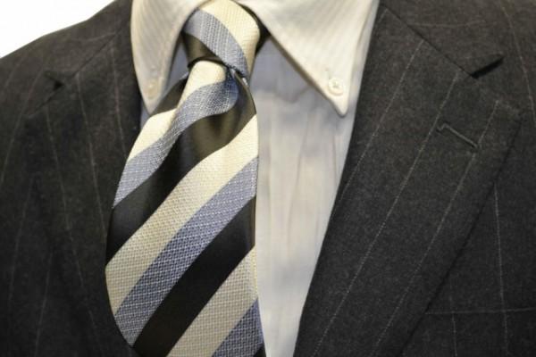 ネクタイ【グレー、水色、ホワイトの(組織変化)ストライプネクタイ 】
