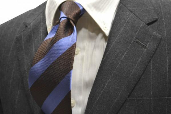 定番・市松模様 ネクタイ【ブラウン、ブルーの(組織変化)ストライプネクタイ 】