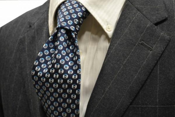 ネクタイ【ネイビー(紺)地に、水色、グレーの小紋柄ネクタイ】
