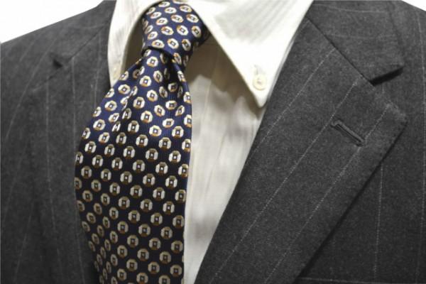 ネクタイ【ネイビー(紺)地に、茶、ベージュの小紋柄ネクタイ】