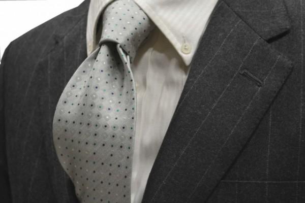 ネクタイ【グレー地に、ホワイト、グリーン、グレー、ネイビーの小紋柄ネクタイ 】