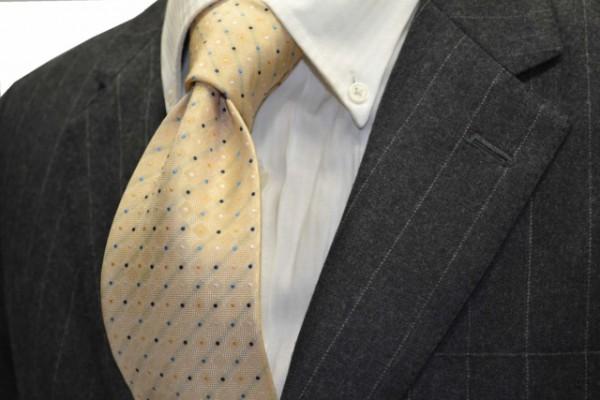 ネクタイ【クリーム地に、ホワイト、ブルー、ネイビー、黄色の小紋柄ネクタイ 】