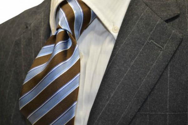 定番・市松模様 ネクタイ【薄いブルー、茶、ホワイトのストライプネクタイ 】