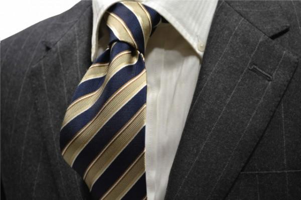 定番・市松模様 ネクタイ【ベージュ、紺(ネイビー)、ホワイトのストライプネクタイ        】