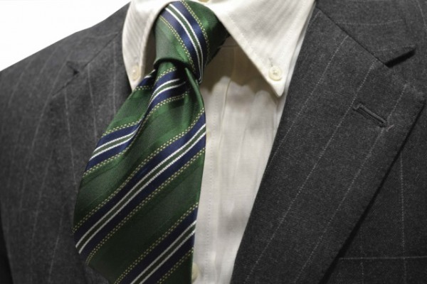 定番・市松模様 ネクタイ【グリーン、紺(ネイビー)、ホワイトのストライプネクタイ 】