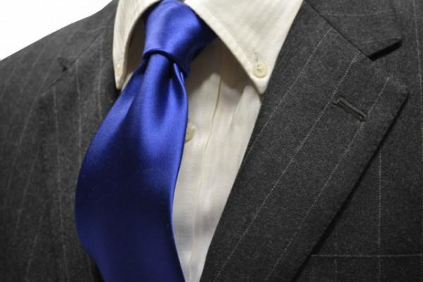 ネクタイ【濃いブルーのサテン・無地ネクタイ 】