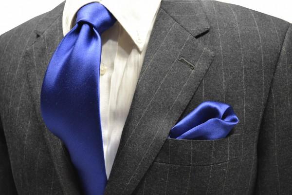 ネクタイ・チーフセット【濃いブルーのサテン・無地ネクタイ 】