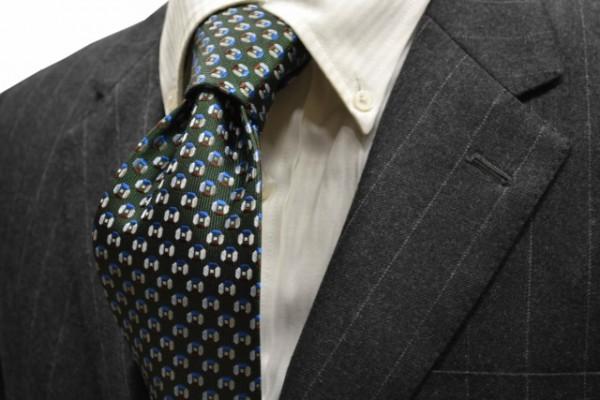 ネクタイ【グリーン地に、茶、ブルー、グレーの小紋柄ネクタイ】