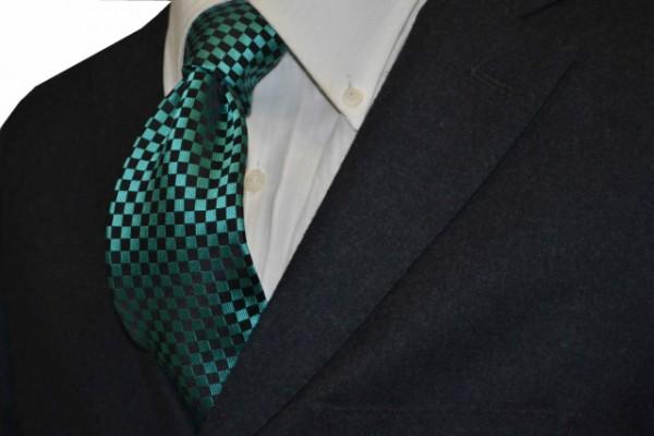 ネクタイ【グリーン×ブラック(緑×黒)市松模様ネクタイ】