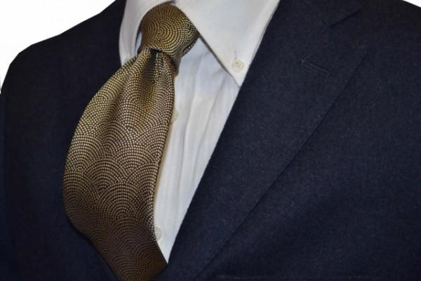 ネクタイ【ゴールドのサメ(鮫)小紋柄ネクタイ】