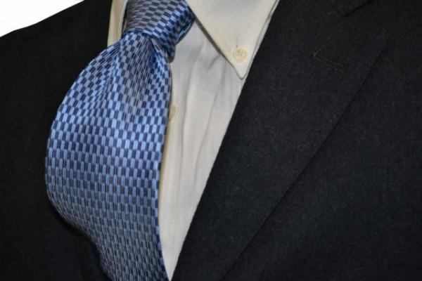 ネクタイ【薄ブルー&ネイビー(紺)の(矢がすり)小紋柄ネクタイ】