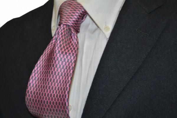 ネクタイ【ピンク&グレーの矢がすり小紋柄ネクタイ】