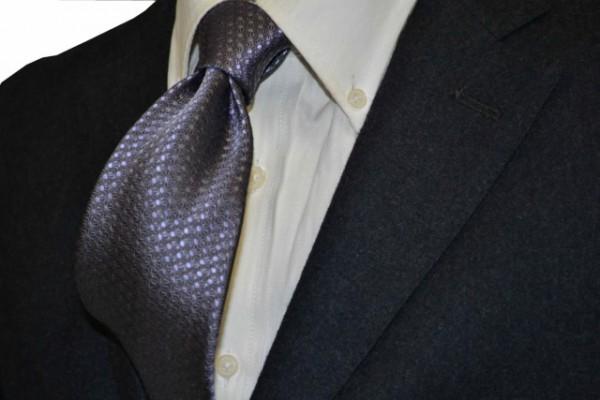 ネクタイ【グレー、薄パープルの麻(あさ)の葉小紋柄ネクタイ】