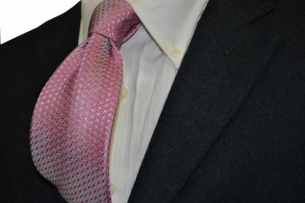 ネクタイ【グレー、ピンクの麻(あさ)の葉小紋柄ネクタイ】